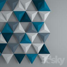 3d models: Other decorative objects - 3d trainglates wall