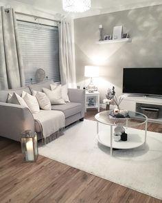 Bargain white rug - shop here - Living Room Decor Cozy, Living Room Grey, Home Living Room, Apartment Living, Living Room Designs, Front Room Decor, Modern White Living Room, Living Room Goals, Small Living