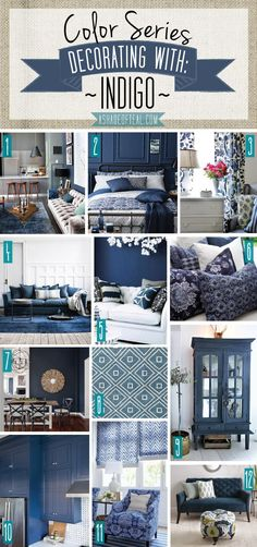 home decor accessories Color Series; Decorating with Indigo, navy, blue, denim, home decor Home Decor Colors, Room Colors, Colorful Decor, Home Decor Accessories, House Colors, Accessories Online, Home Design, Interior Design, Blue Bedroom