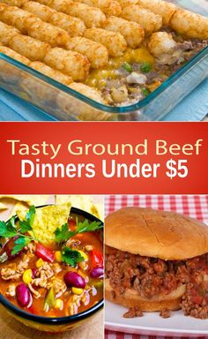 Tasty Ground Beef Dinners Under $5---oh my gosh! These are great doing them all for my hubs :) he will be so happy cheap recipes quick recipes #recipe #frugal