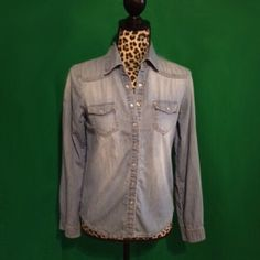 HP Chambray Shirt Chambray shirt with snap closure. Looks great with the sleeves down or rolled up. Slightly distressed / faded look. Only worn a few times. Tops Button Down Shirts