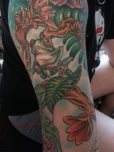 b8fd19193 Part of a jungle themed sleeve #sleeve #junglesleeve #tattoo  #workinprogress Foot Tattoos