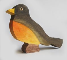 Wooden Robin Toy- Waldorf Nature Table- Spring. $13.00, via Etsy.