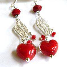Red Earrings for Women, Silver Earrings, Long Dangle Earrings, Swarovski Earrings, Best Valentine Gift, Heart Earrings, Handcrafted Jewelry #handcrafted #jewelry #blondepeachjewelry