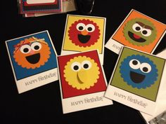 Homemade Card - Birthday Card - Greeting Card - Sesame Street Card - Stampin Up Card - Set of Cards. $10.00, via Etsy. So CUTE!!!