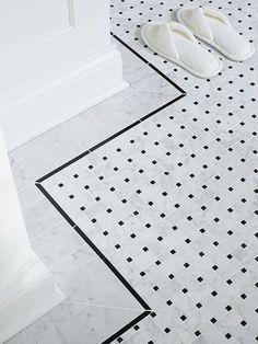 Basketweave marble floor tile, framed by a pencil-thin ceramic border, is warmed… – Marble Bathroom Dreams Bathroom Border Tiles, Bath Tiles, Room Tiles, Bathroom Floor Tiles, Bathroom Marble, Mosaic Tiles, Marble Mosaic, Hex Tile, Shower Bathroom