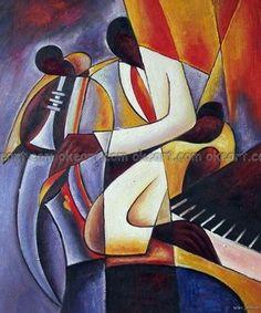 Peinte Jazz Musicien Trompette Saxophone Keyboard Trio Musique décoration Peinture à l'huile 100 % de la main la livraison gratuite de haute qualité