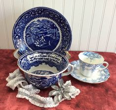Auld Lang Sayne Blue Transferware Breakfast Size Cup And Saucer 1930s British Anchor