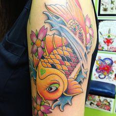 Beautiful Koi Fish Tattoo Design on Sleeve for Women   Cool Tattoo Designs