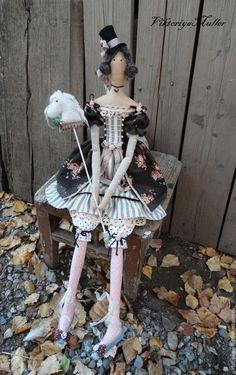Купить РЕЗЕРВ кукла тильда ручной работы ДЕВОЧКА И ЛОШАДКА) - коричневый