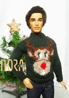 Mark Darcy Xmas Barbie Ken knit sweater and for 1/ 6 dolls