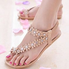 Tenworld Women Summer Bohemia Flat Sandals Flower Beads Beach Flipflop Shoes 7 Khaki * You can get more details by clicking on the image.(This is an Amazon affiliate link and I receive a commission for the sales) #WomensFlipFlopsSandals