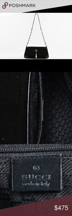 Authentic black and gold suede Gucci bag This purse is 100% real, there is an internet troll who keeps posting false information named 'qeb' she has been reported to poshmark and they are dealing with the situation. Bags Shoulder Bags