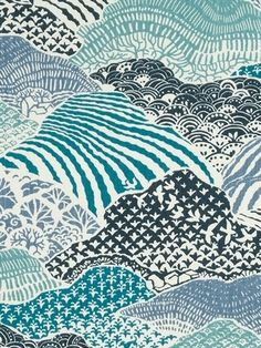 "Madcap Cottage Windsor Park Indigo - Madcap Cottage Fabric - Mountain hillside print fabric for window treatments, upholstery or top of the bed. 100% cotton. Repeat: H 27"" x V 25.25"". Durable 65,000 double rubs. 54"" wide."
