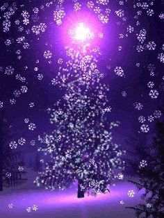 Have a Merry violet, purple, and pink Christmas. Purple Tree Hope Joy