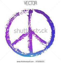 Vector peace sign painted by dry brush. Hand drawn symbol isolated on white background. Textured element. Colorful gradient. Blue, purple, cyan colors.