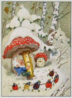 Musician, mushrooms, dancing beetles. Old postcard.