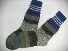 Hand Knitted Wool Socks For Men-Colorful Wool by Billeshop on Etsy