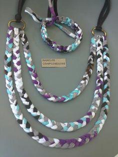 Collar collage - artesanum com Yarn Bracelets, Yarn Necklace, Braided Necklace, Fabric Necklace, Fabric Jewelry, Rope Jewelry, Jewelry Crafts, Jewelery, Handmade Jewelry