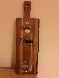 Chopping board, etched and converted into a bottle opener