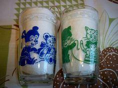 Vintage 1956 Swanky Swigs Kiddie Kups Juice Glasses Kraft Cheese Spread Jars Pair by BlackRain4