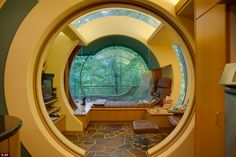 Futuristic cottage; The main rooms are located on an elevated canopy level nestled among t...