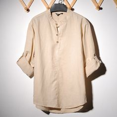 2014 NEW mens Nehru / Mandarin Collar shirt by LittleLilbienen, $55.00