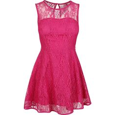 Pink Lace Skater Dress ($33) ❤ liked on Polyvore