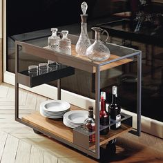 Mojito Wood - Trolley bar with graphite embossed lacquered frame. Top in Canaletto walnut wood. Call for a quote Kitchen Furniture, Bar Furniture, Modern Bar Cart, Italian Furniture, Modern Bar, Furniture Design, Cattelan Italia, Italian Furniture Modern, Furniture