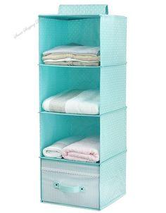 Hanging Clothes Storage for Kids With Drawer 4 Shelving Units Closet Organizer  #HangingClothesStorage