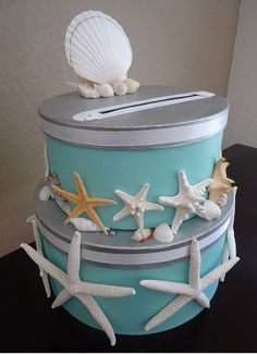 Card Box Beach Wedding Starfish Sand by TheBrideSophisticate