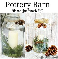 Pottery Barn Inspired Mason Jar Vase ~ I would leave these out through January :^) Full tutorial and easy to make! Love these!!