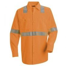 Hi-Visibility Orange Long Sleeve Work Shirt - Class 2 Level 2 - SS14O2 | Hi Vis Safety Direct will beat any other price , we are #1 in Hi Visibility Items .