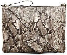 Kenneth Cole Snake Leather Zip Pouch Crossbody - Kenneth Cole Snake Leather Zip…
