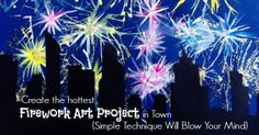 Want to create the explosive effects of fireworks in paint? This unique kids' art project will blow you away. It's easy to paint fireworks and city skylines. Classroom Art Projects, Easy Art Projects, Art Classroom, Fireworks Craft For Kids, Fireworks Art, Kindergarten Art, Preschool Art, Firework Painting, January Art