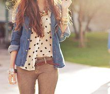 denim shirt, khaki pants, thin belt, black and white polka dot button down shirt.