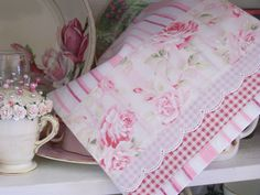 Decorative Shabby Chic tea towel