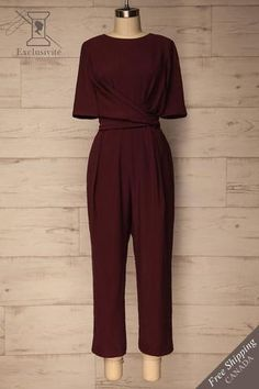 Yolet Burgundy Pleated Jumpsuit with Tied Waist Indian Fashion Dresses, Girls Fashion Clothes, Teen Fashion Outfits, Hijab Fashion, Fashion Goth, Pleated Jumpsuit, Jumpsuit Outfit, Cute Casual Outfits, Stylish Outfits