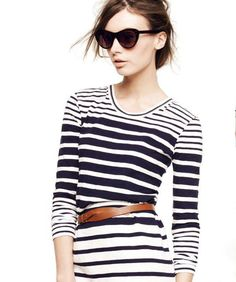 striped dress and brown belt