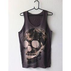 Goth Human Skull Pop Art Fashion Punk Rock Tank Top M