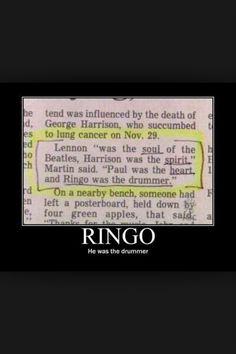 Poor Ringo gets no respect!