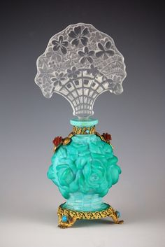 Czechoslovakian Opaque Green Glass Perfume Bottle with Glass Stopper SOLD FOR $1600