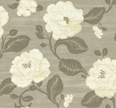 Asian Floral Grey, Dark Brown, White, Gold Trim   Villa Vecchia Collection