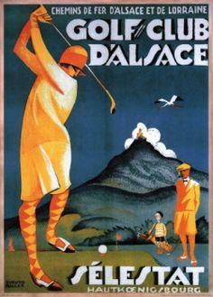 FRANCE - Alsace. Sélestat. Haut Königsbourg Lady Golfer #Vintage #Travel