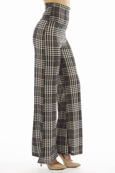 High Waist Plaid Grey Palazzo Pants | Home Goods Galore