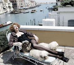 Lara Stone + pooches for Harper's Bazaar