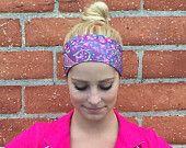 Workout headband- crossfit headband- yoga headband- fitness headband••• Purple Paisley