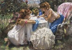 Vicente Romero Redondo. Women Writing in a Garden.