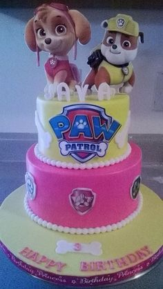 Paw patrol cake for a girl