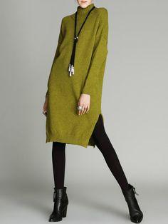 Mustard Solid Long Sleeve Turtleneck H-line Midi Dress